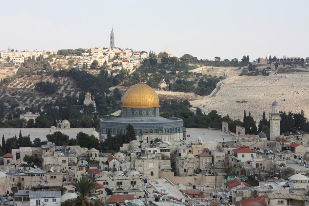 Utsikt over gamlebyen og Oljeberget i Jerusalem.