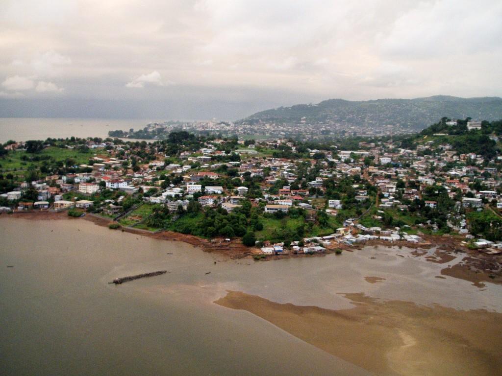 Utsikt fra helikopteret over området vi bodde i.
